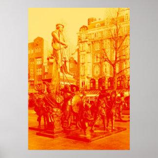 rembrandt statue amsterdam digital photo orange poster