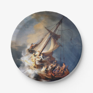 Rembrandt Storm on Lake of Galilee Paper Plate