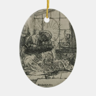 Rembrandt: The Holy Family with a cat Christmas Ornament