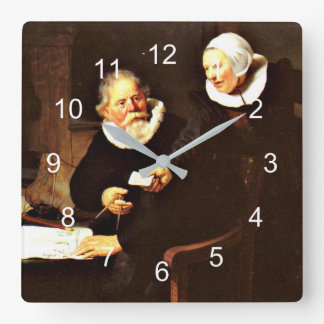 Rembrandt: The Shipbuilder and his Wife, 1633 Square Wall Clock