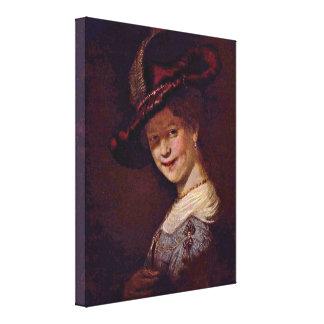 Rembrandt van Rijn - Young woman smiling Stretched Canvas Prints
