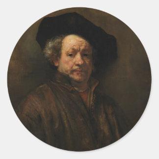 Rembrandt van Rijn's Self Portrait Fine Art Classic Round Sticker