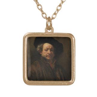 Rembrandt van Rijn's Self Portrait Fine Art Gold Plated Necklace