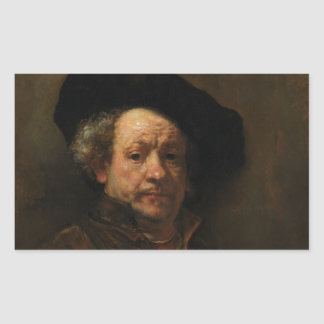 Rembrandt van Rijn's Self Portrait Fine Art Rectangular Sticker