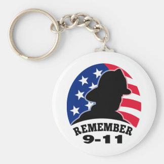 Remember 9-11 fireman firefighter american flag key ring
