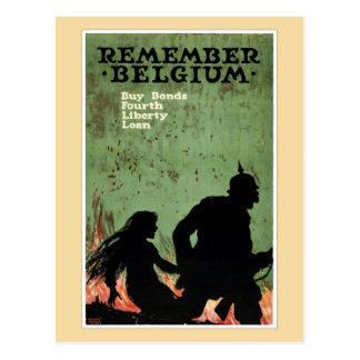 Remember Belgium propaganda Postcard