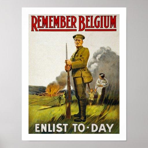 Remember Belgium (white) Poster