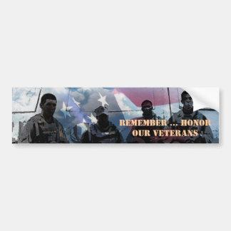 Remember Honor our Veterans Veteran Bumper Sticker