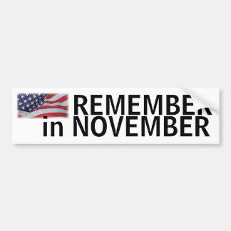 Remember in November bumper with flag Bumper Sticker