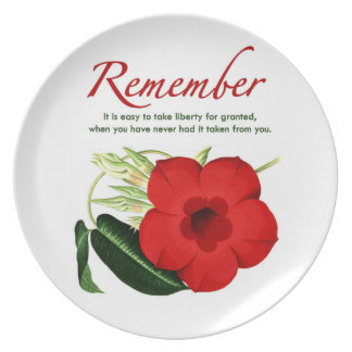 Remember. It is easy to take liberty for granted… Party Plate