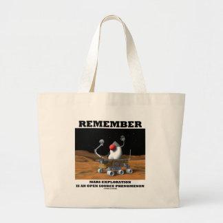 Remember Mars Exploration Open Source Duke Rover Jumbo Tote Bag