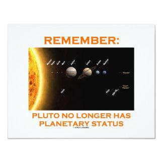 Remember: Pluto No Longer Has Planetary Status 11 Cm X 14 Cm Invitation Card