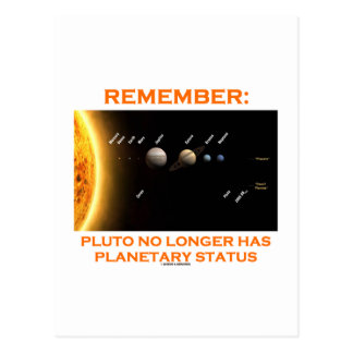 Remember: Pluto No Longer Has Planetary Status Postcard