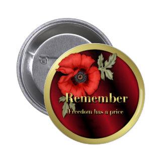 Remember Poppy 6 Cm Round Badge