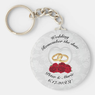 Remember The Date Wedding Hearts and Roses Basic Round Button Key Ring