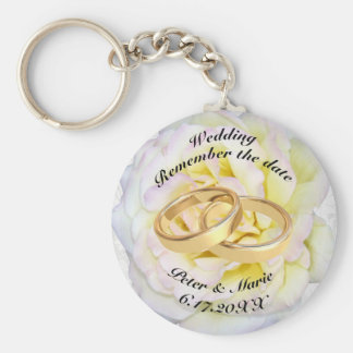 Remember The Date Wedding Rings and Rose Key Ring