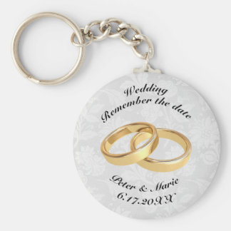Remember The Date Wedding Rings Basic Round Button Key Ring