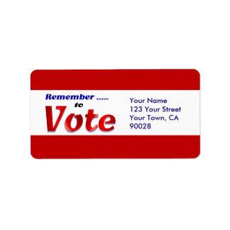 remember to  vote address label