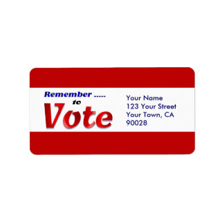 remember to  vote address label