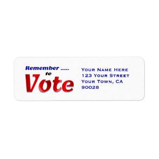 Remember to Vote Return Address Label