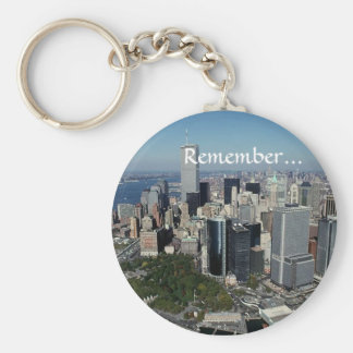 Remember ~ Twin Towers View~ WTC NYC Manhattan Basic Round Button Key Ring