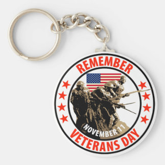 Remember Veterans Day Basic Round Button Key Ring