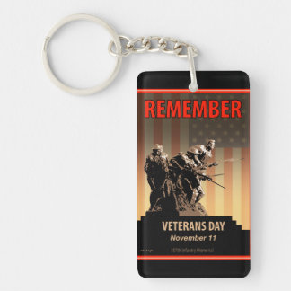 Remember Veterans Day Single-Sided Rectangular Acrylic Key Ring