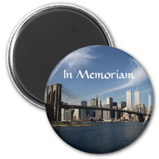 Remember When ~ In Memoriam ~ Twin Towers WTC NYC 6 Cm Round Magnet