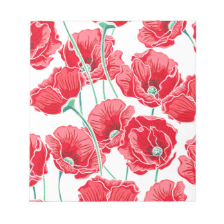 Rememberance red poppy field floral pattern notepad