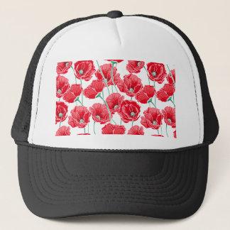 Rememberance red poppy field floral pattern trucker hat