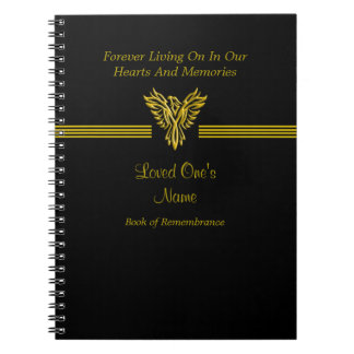 Remembrance Condolence book, golden rising phoenix Notebook