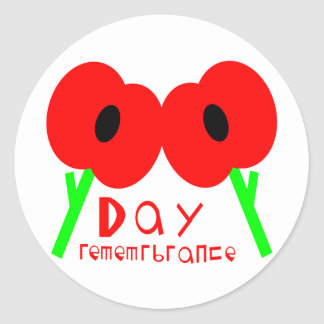 Remembrance Day, Armistice Day or Veterans Day Round Sticker