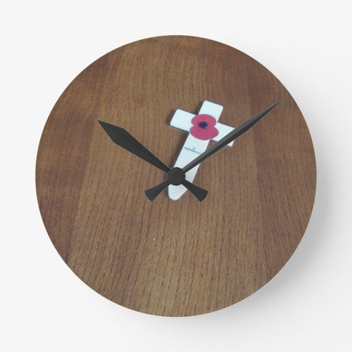 Remembrance Day Cross Round Wall Clocks