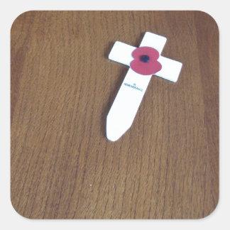 Remembrance Day Cross Square Sticker