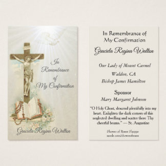 Remembrance Keepsake  Sacrament of Confirmation Business Card