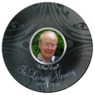 Remembrance Memorial Image Black Ebony Porcelain Plate