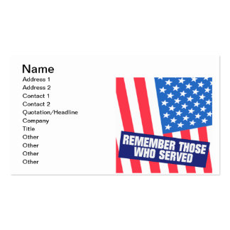 Remembrance Pack Of Standard Business Cards