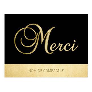 Remerciement MERCI Affaires Or Noir avec LOGO Postcard