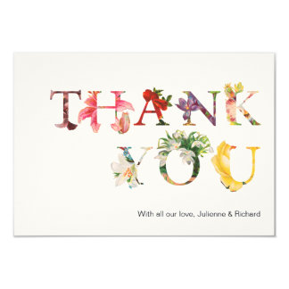 "Reminiscence | Modern floral wedding ""Thank you"" 9 Cm X 13 Cm Invitation Card"