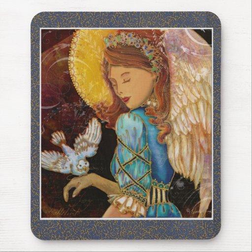 Renaissance Angel & Dove Christmas Mouse Pad
