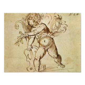 Renaissance Art, Cupid with a Violin by Campagnola 11 Cm X 14 Cm Invitation Card