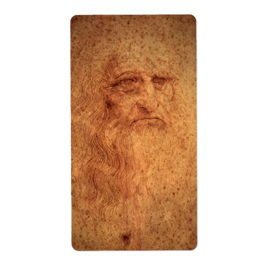 Renaissance Art Self Portrait by Leonardo da Vinci Shipping Label