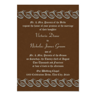 Renaissance Brown with Antique Silver Wedding 5x7 Paper Invitation Card