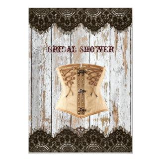 Renaissance Corset country vintage Bridal Shower 5x7 Paper Invitation Card