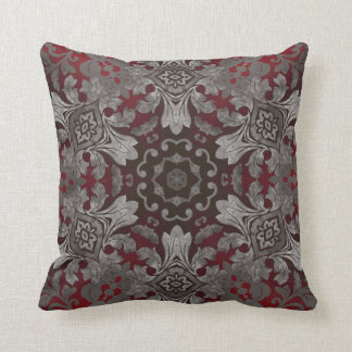 renaissance gothic metallic red and black mandala cushion