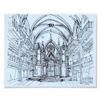 Renaissance gothic Orensanz drawing in blue Art Photo