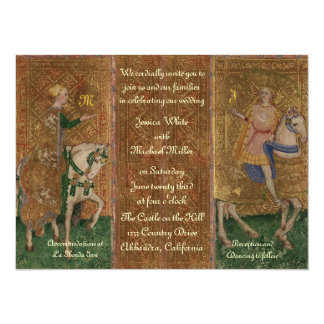 Renaissance Lady and Knight Wedding with Initials 14 Cm X 19 Cm Invitation Card