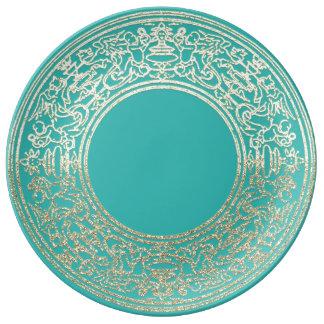 Renaissance Ornament Champagne Gold Mint Angels Plate
