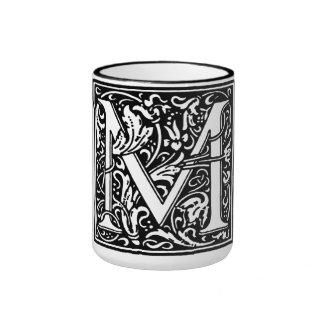 Renaissance Style Alphabet Letter M On Mug