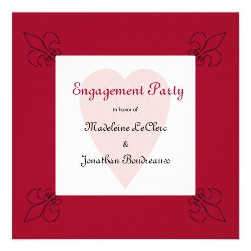 Renaissance Style Fleur de Lis Engagement Custom Invite